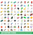 100 history icons set isometric 3d style vector image vector image