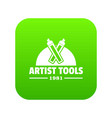 artist tool icon green vector image vector image