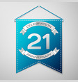 blue pennant with inscription twenty one years vector image vector image