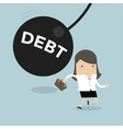 businesswoman running away from debt pendulum vector image vector image