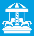 carousel with horses icon white vector image vector image