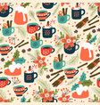 christmas pudding and hot drink seamless pattern vector image