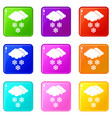 cloud and snowflakes icons 9 set vector image vector image