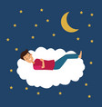 colorful scene night with guy sleep in cloud vector image vector image