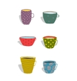 Cups and Mugs Ceramics Colorful Fun Set vector image vector image