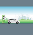 electric car charging at charger service station vector image