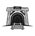 entrance in mine tunnel with railway object vector image vector image