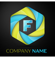 F Letter colorful logo in the hexagonal on black vector image vector image