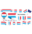 flag luxembourg big set icons vector image vector image