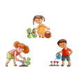 flat children in garden scenes set isolated vector image vector image
