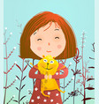 girl and guinea pig portrait vector image vector image