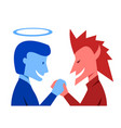 god and evil are shaking hands together vector image