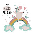 greeting cards with cute unicorn rainbow vector image