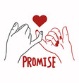 hand promise outline with red heart concept vector image vector image