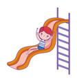 happy children day little girl playing slide vector image vector image