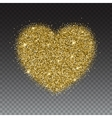 Icon of Heart with gold sparkles and glitter vector image vector image