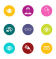 impact on vision icons set flat style vector image vector image
