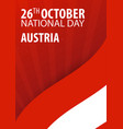 independence day of austria flag and patriotic vector image vector image