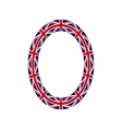 Letter O made from United Kingdom flags vector image