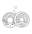 line kawaii nice sweet donut couple vector image vector image