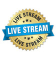 live stream round isolated gold badge vector image vector image