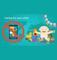 long banner - children toys and smart phone vector image vector image