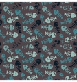 Pattern with fish on a dark background vector image vector image
