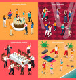 people at party isometric design concept vector image vector image
