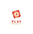 play music video multimedia player icon app logo vector image vector image