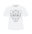 polygonal head tiger on white t-shirt in vector image