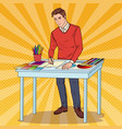 pop art graphic designer with working tools vector image vector image