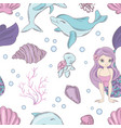 sea textile mermaid princess seamless pattern vector image