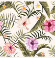 seamless tropical wallpaper flowers hawaiian vector image vector image