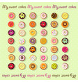 set different donut icons vector image vector image