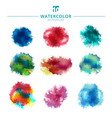 set multicolored watercolor paint stains and vector image