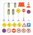 set of traffic sign equipment traffic light vector image