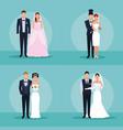 set of wedding couple vector image vector image