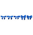 set realistic blue bows element for decoration vector image
