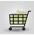 shopping cart with packages eps10 vector image