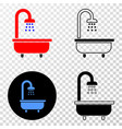 shower bath eps icon with contour version vector image