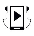 silhouette smartphone mobile music earphones audio vector image vector image