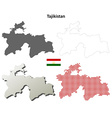 Tajikistan outline map set vector image vector image