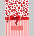 valentine day hearts card with bow vector image