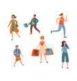 various people character walk urban person vector image