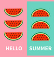 watermelon fruit icon set red slice with seeds in vector image