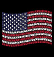 waving american flag stylization of stop hand vector image vector image