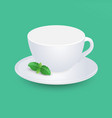 white empty cup mockup with mint on plate vector image