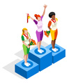 Winner Podium 2016 Sports 3D Isometric vector image vector image