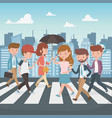young people walking in street characters vector image