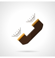 Brown handset flat color icon vector image